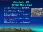 garmisch 1936 british medal haul