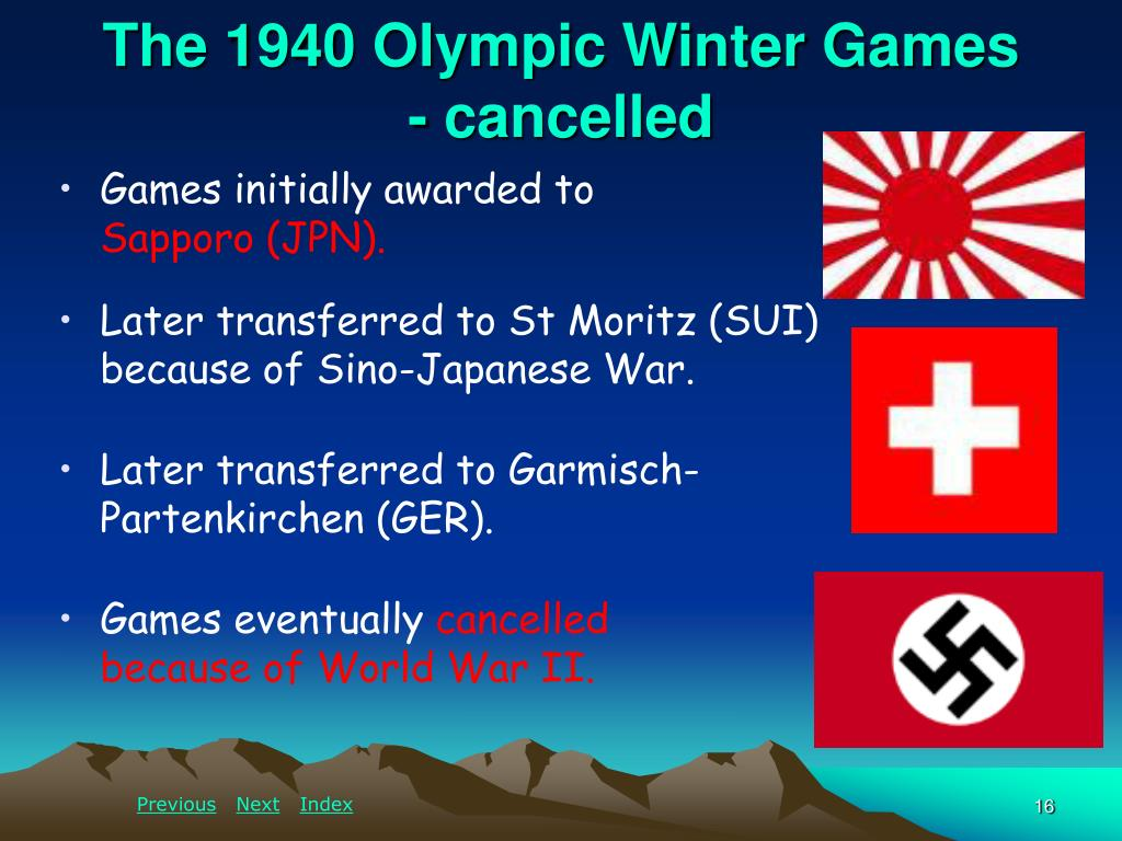 The 1940 Olympic Winter Games           - cancelled