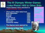 the iii olympic winter games lake placid 1932 other bids