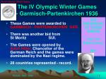 the iv olympic winter games garmisch partenkirchen 1936