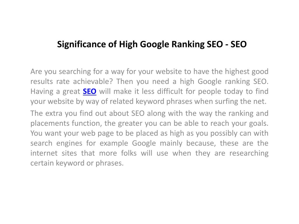 Significance of High Google Ranking SEO - SEO