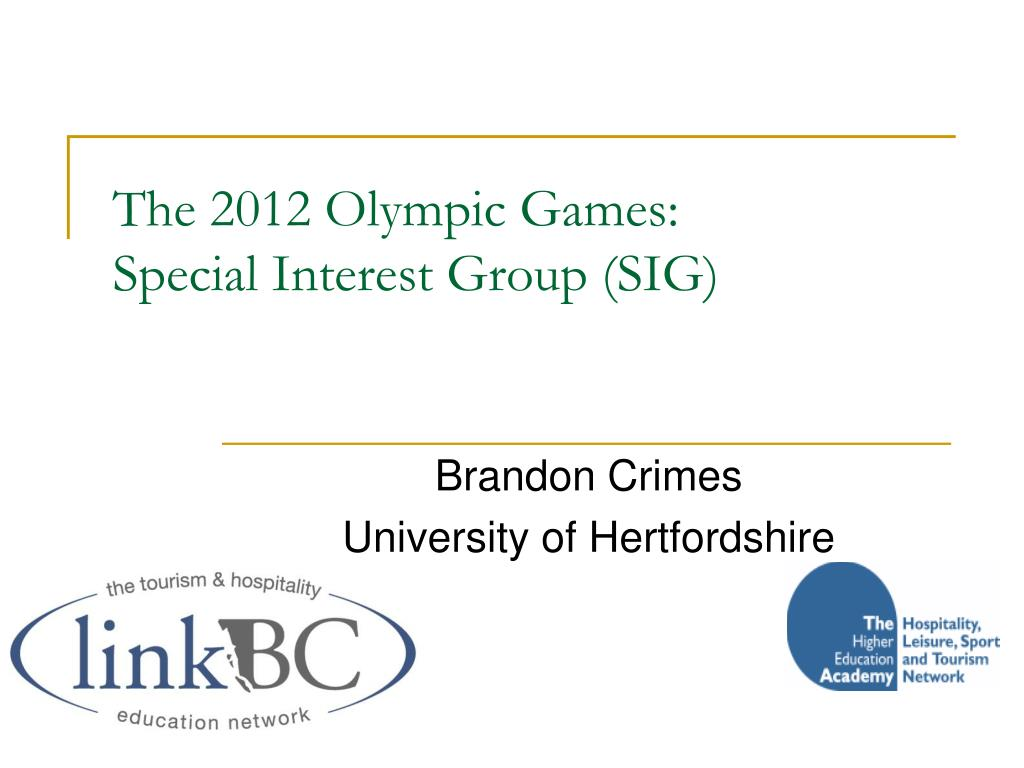 the 2012 olympic games special interest group sig l.