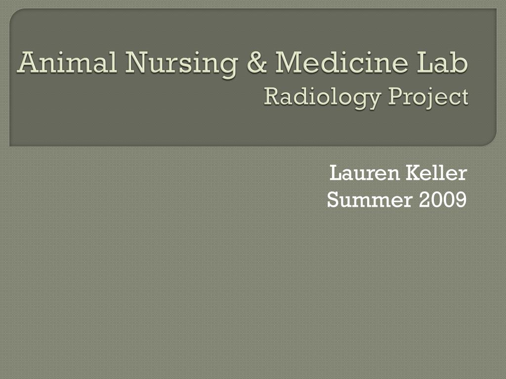 animal nursing medicine lab radiology project l.