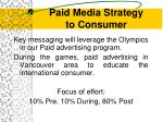 paid media strategy to consumer