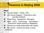 presence in beijing 2008