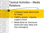 tactical activities media relations