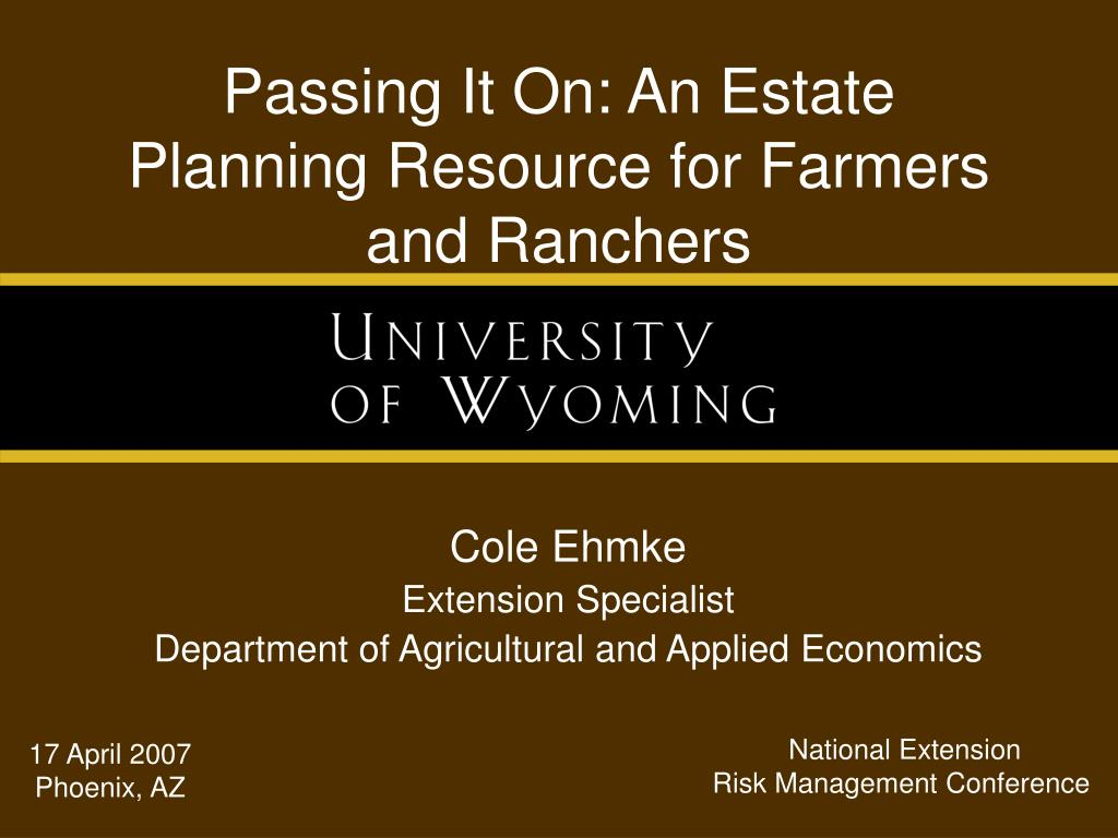 passing it on an estate planning resource for farmers and ranchers l.
