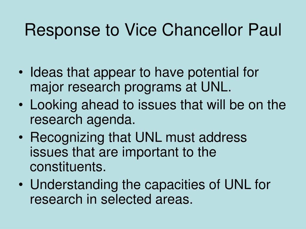 Response to Vice Chancellor Paul