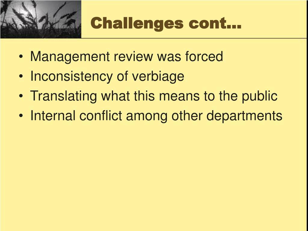 Challenges cont…