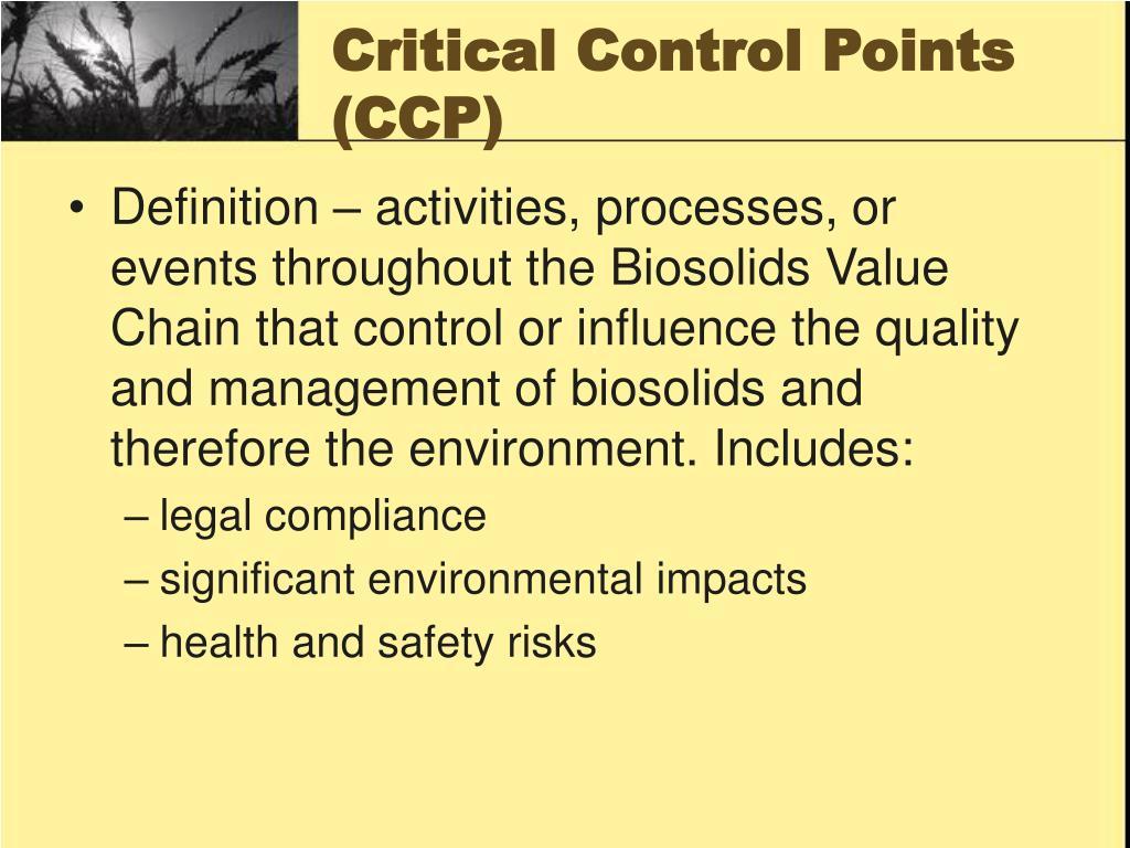 Critical Control Points (CCP)