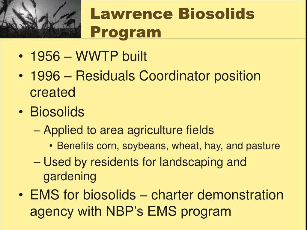 Lawrence Biosolids Program
