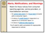 alerts notifications and warnings