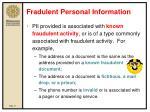 fradulent personal information