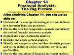 chapter 14 financial analysis the big picture