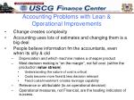 accounting problems with lean operational improvements