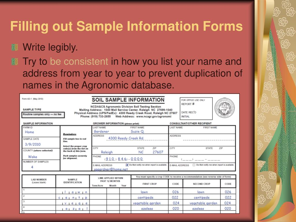 Filling out Sample Information Forms