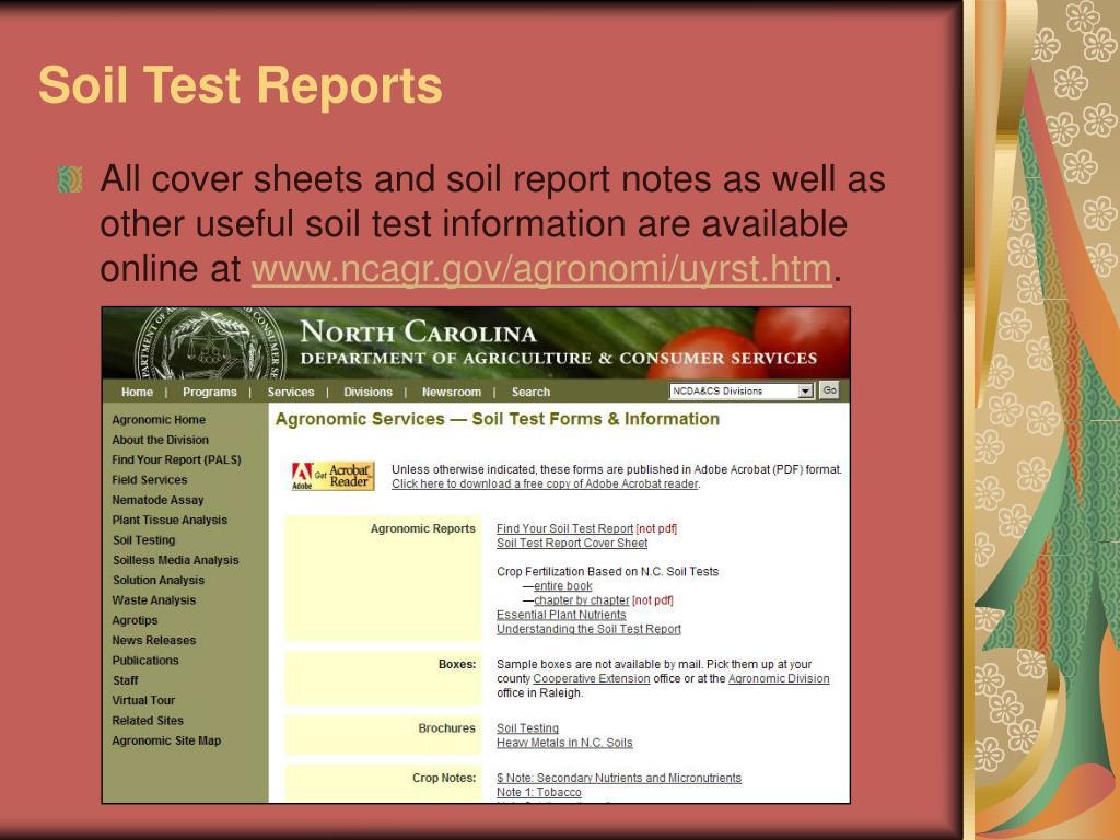 Soil Test Reports