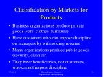 classification by markets for products