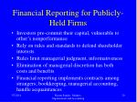 financial reporting for publicly held firms
