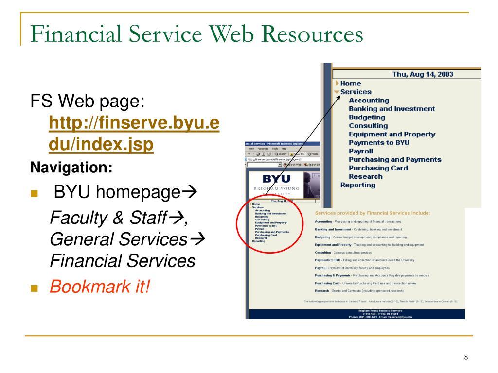 Financial Service Web Resources