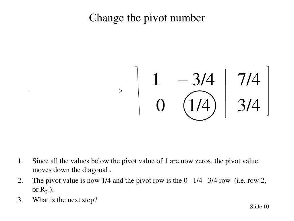 Change the pivot number