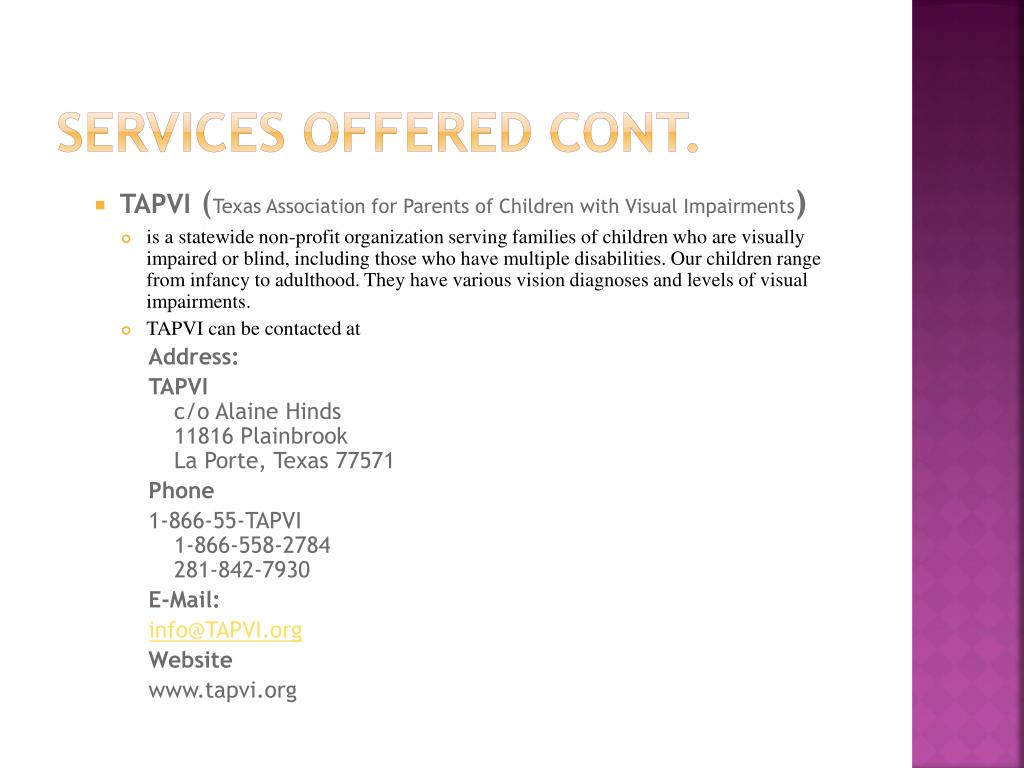 Services offered cont.