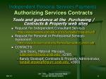 independent personal services payments authorizing services contracts11
