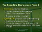 vendor payments with income tax implications tax reporting elements on form 524