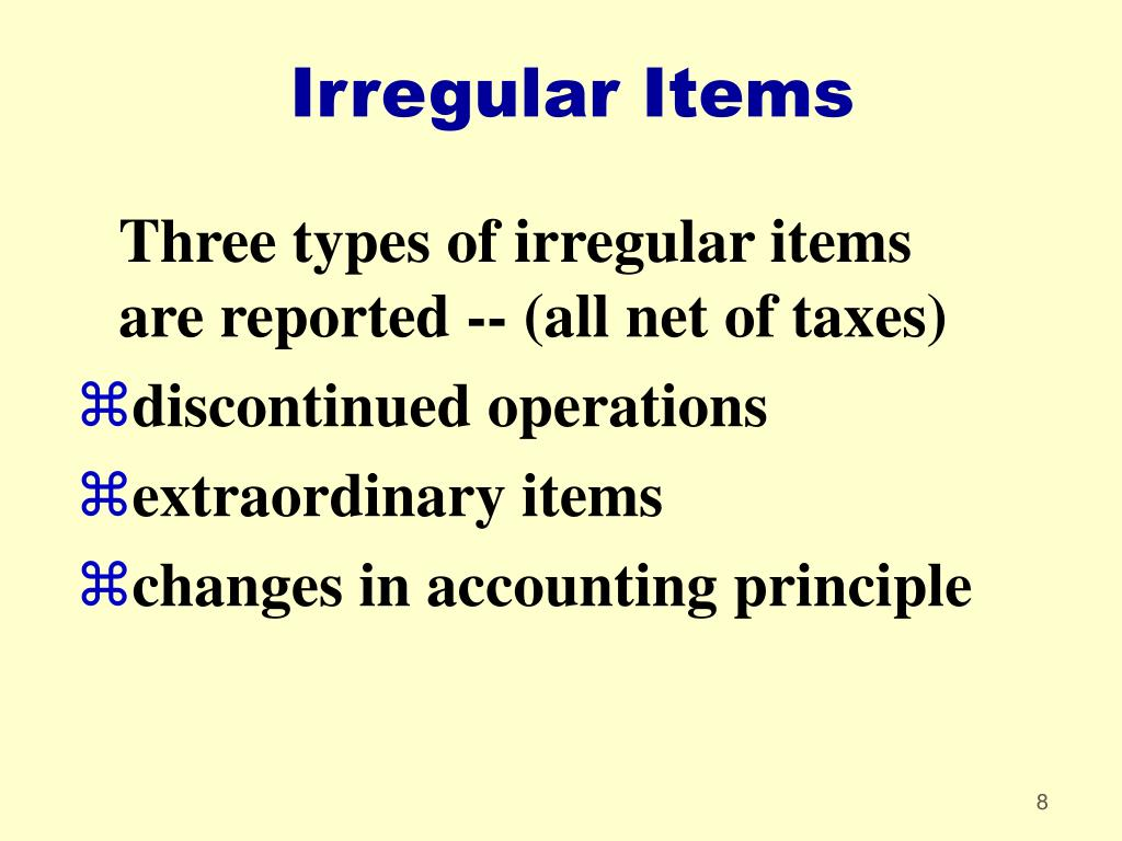 Irregular Items