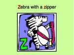 z ebra with a z ipper