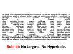rule 4 no jargons no hyperbole