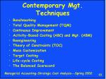 contemporary mgt techniques
