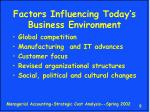 factors influencing today s business environment