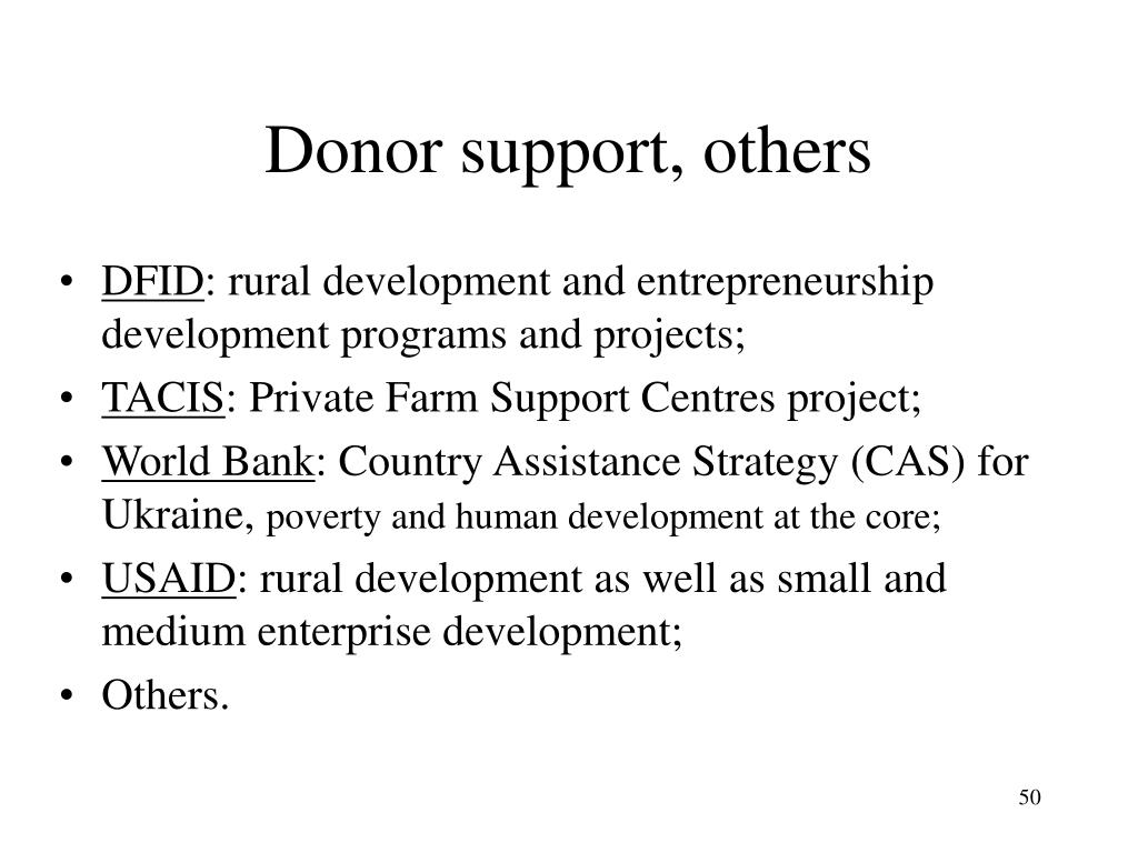 Donor support, others
