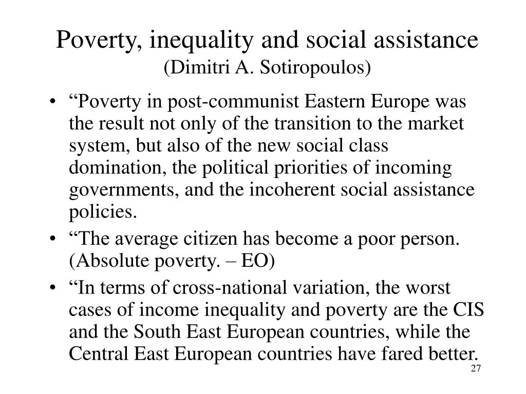 Poverty, inequality and social assistance