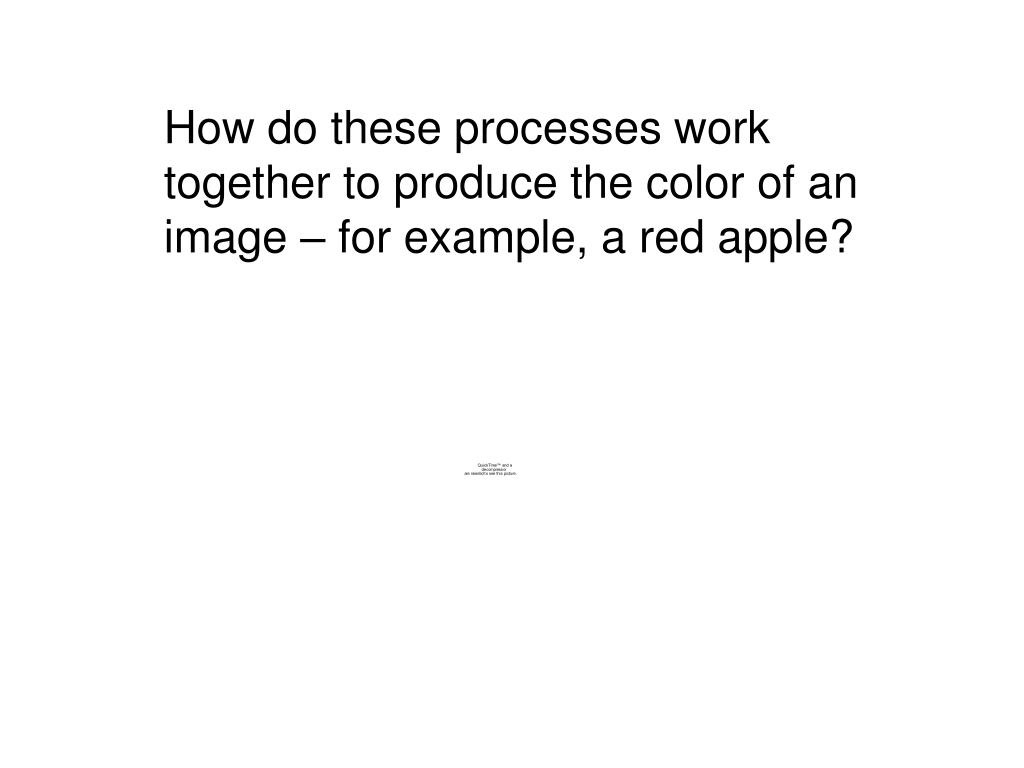 How do these processes work together to produce the color of an image – for example, a red apple?