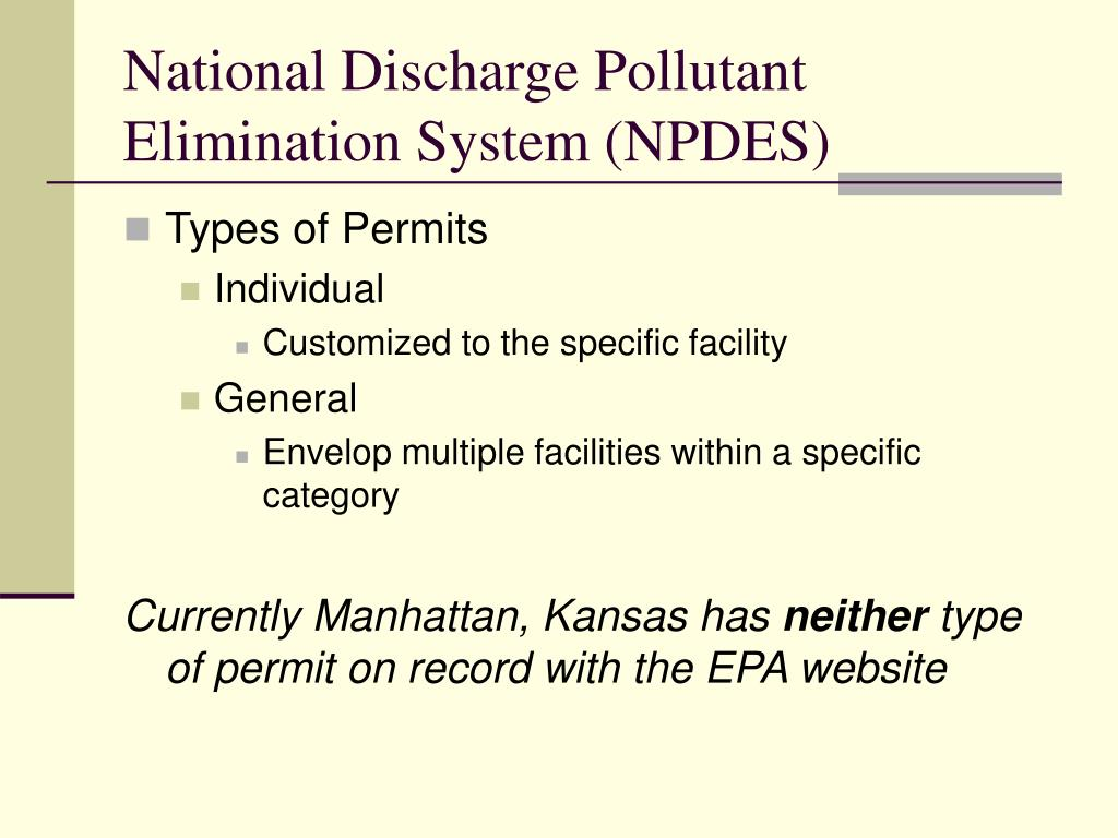 the importance of the national pollution discharge elimination system npdes to water quality Illicit discharges are nonstormwater discharges that are not allowed under the national pollutant discharge elimination system (npdes) sanitary wastewater, car wash.