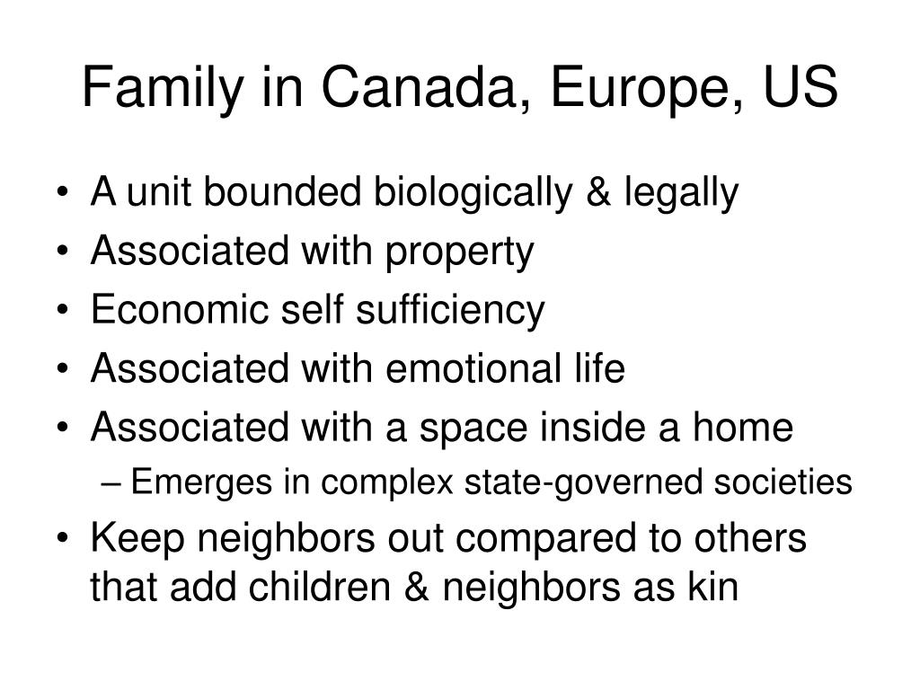 Family in Canada, Europe, US