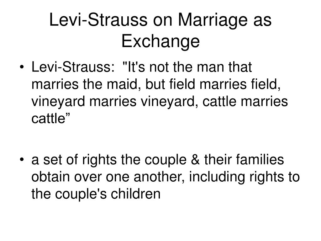 Levi-Strauss on Marriage as Exchange