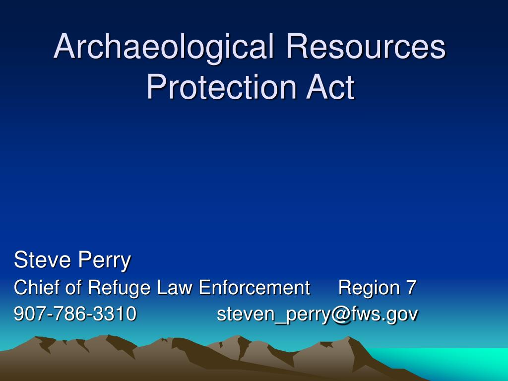archaeological resources protection act l.