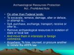 archaeological resources protection act prohibited acts