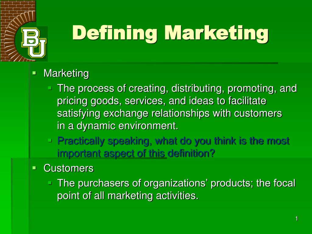 defining marketing A planned mix of the controllable elements of a product's marketing plan commonly termed as 4ps: product, price, place, and promotion these four elements are adjusted until the right combination is found that serves the needs of the product's customers, while generating optimum income.