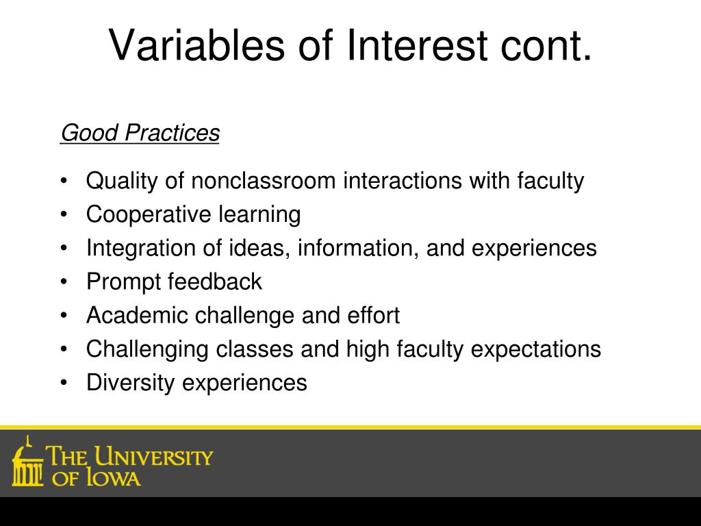 Variables of Interest cont.