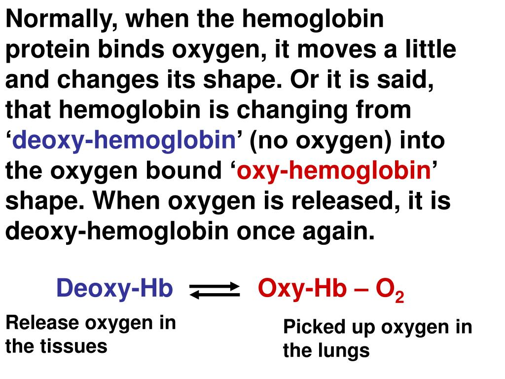 Normally, when the hemoglobin protein binds oxygen, it moves a little and changes its shape. Or it is said, that hemoglobin is changing from '