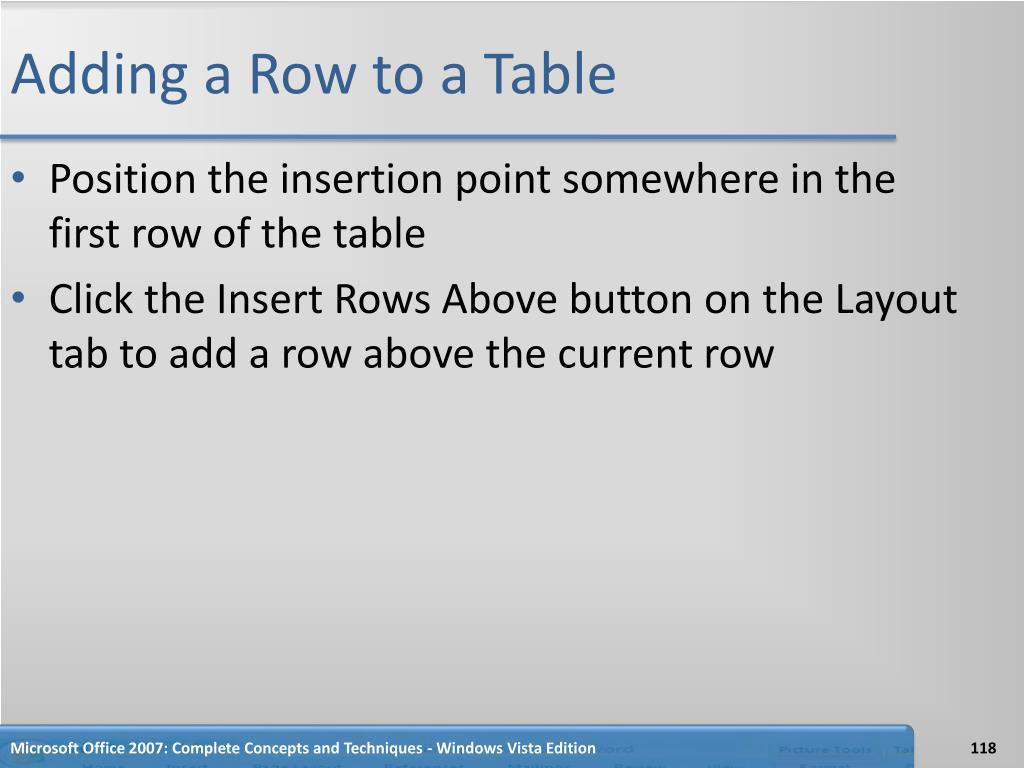 Adding a Row to a Table