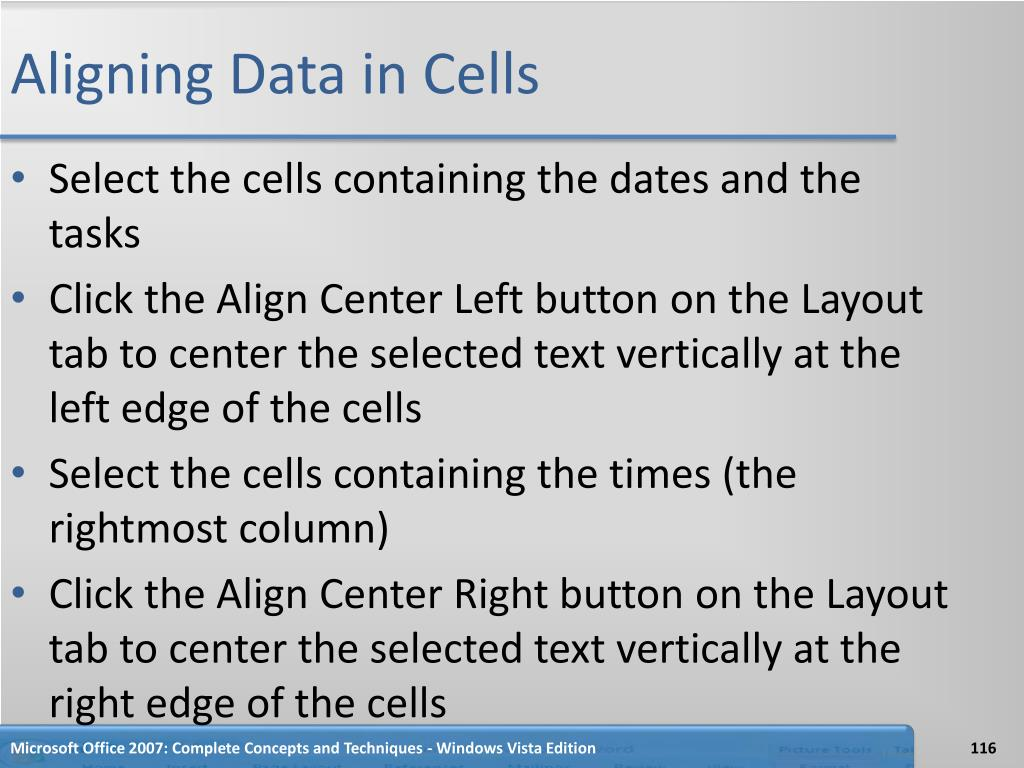 Aligning Data in Cells