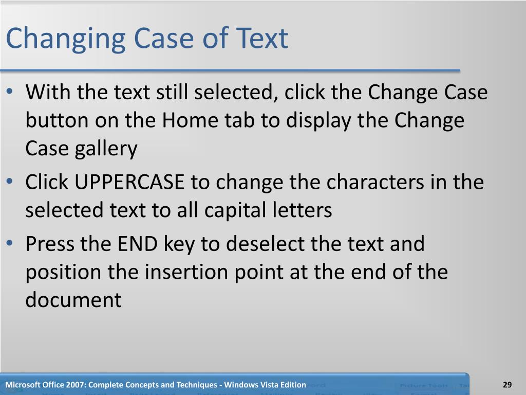 Changing Case of Text