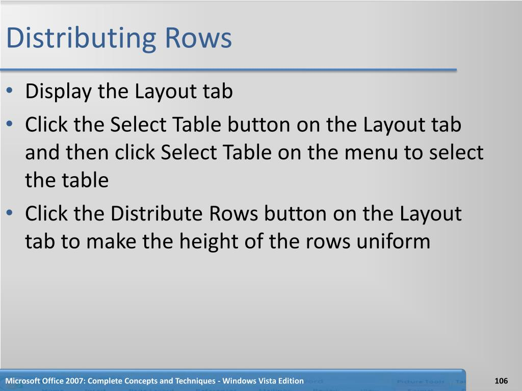Distributing Rows