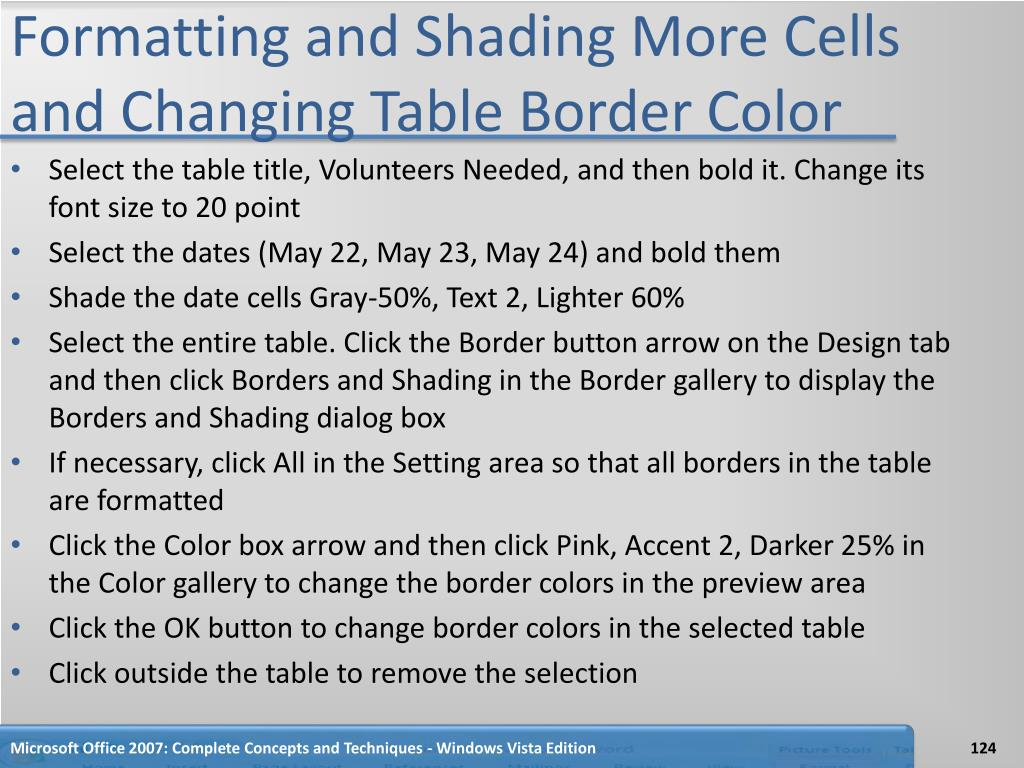 Formatting and Shading More Cells and Changing Table Border Color