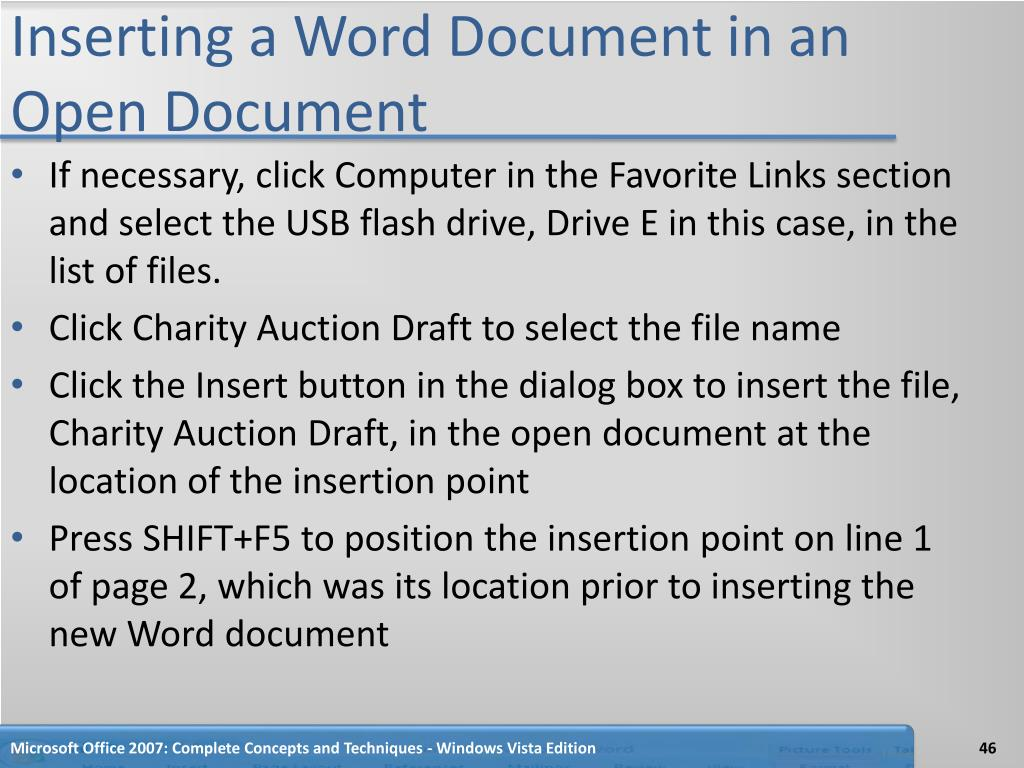 Inserting a Word Document in an Open Document